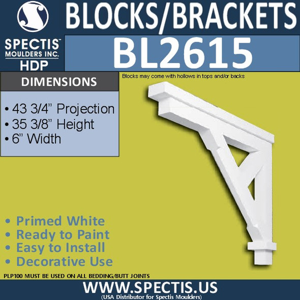 "BL2615 Eave Block or Bracket 6""W x 35.4""H x 43.75"" P"