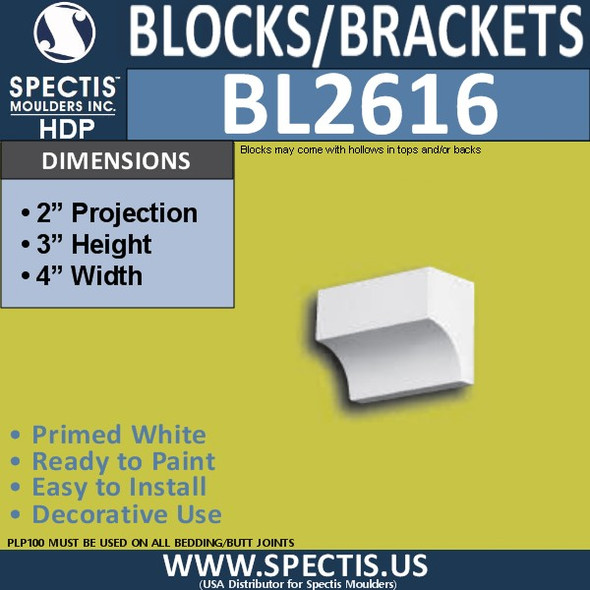 "BL2616 Eave Block or Bracket 4""W x 3""H x 2"" P"