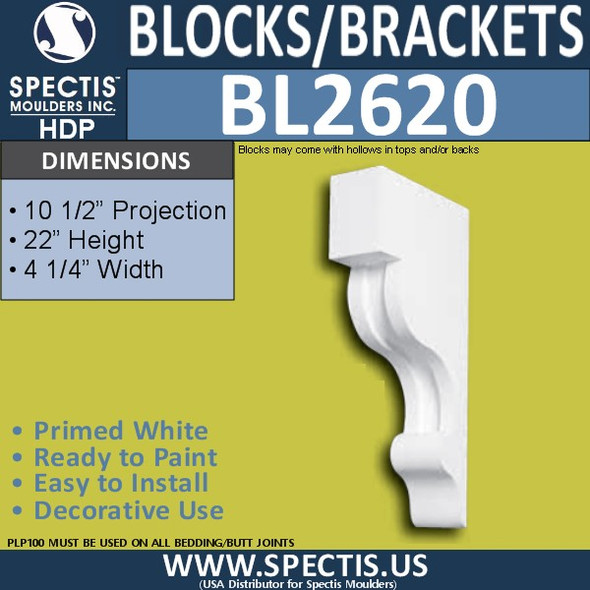 "BL2620 Eave Block or Bracket 4.25""W x 22""H x 21"" P"
