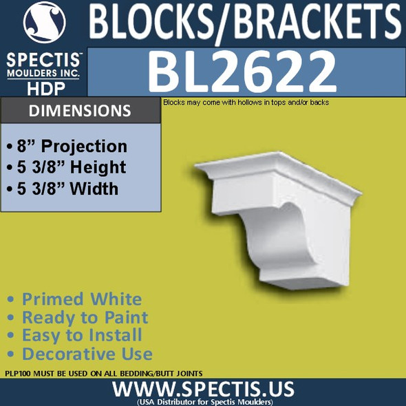 "BL2622 Eave Block or Bracket 5.3""W x 5.3""H x 8"" P"