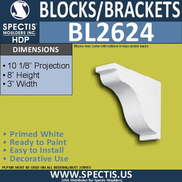 "BL2624 Eave Block or Bracket 3""W x 8""H x 10.125"" P"