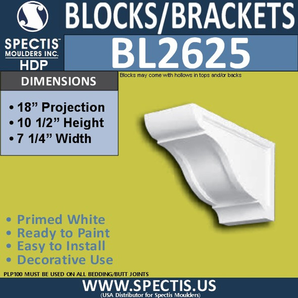 "BL2625 Eave Block or Bracket 7.25""W x 10.5""H x 18"" P"