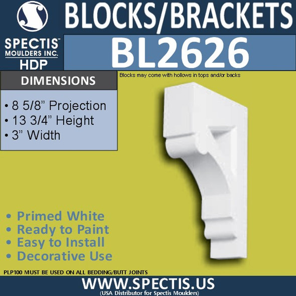 "BL2626 Eave Block or Bracket 3""W x 13.75""H x 8.6"" P"