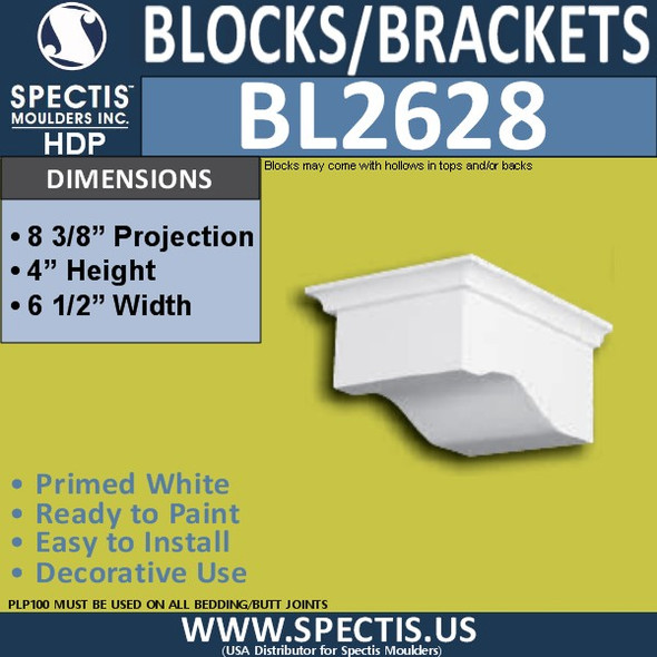 "BL2628 Eave Block or Bracket 6.5""W x 4""H x 8.4"" P"