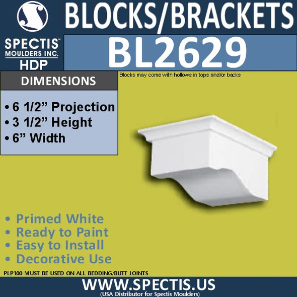 "BL2629 Eave Block or Bracket 6""W x 3.5""H x 6.5"" P"