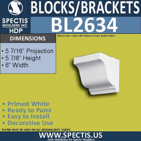 "BL2634 Eave Block or Bracket 6""W x 5.8""H x 5.12"" P"