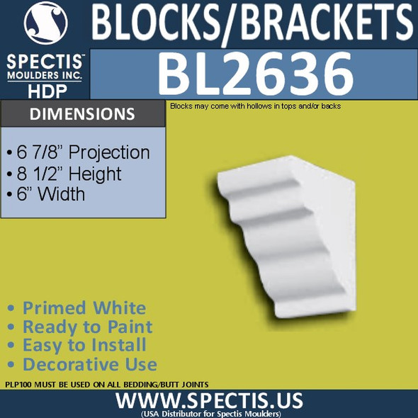 "BL2636 Eave Block or Bracket 6""W x 8.5""H x 6.9"" P"