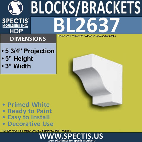 "BL2637 Eave Block or Bracket 3""W x 5""H x 5.75"" P"