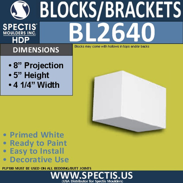 "BL2640 Eave Block or Bracket 4""W x 5""H x 8"" P"