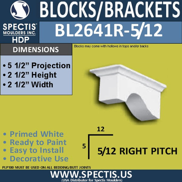 "BL2641R-5/12 Pitch Eave Bracket 2.5""W x 2.5""H x 5.5"" P"