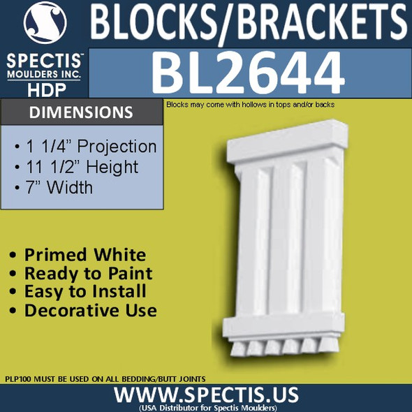 "BL2644 Eave Block or Bracket 7""W x 11.5""H x 1.25"" P"
