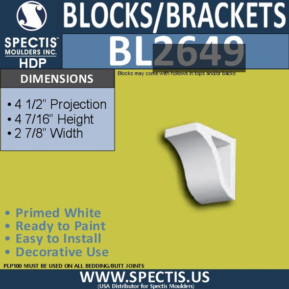 "BL2649 Eave Block or Bracket 2.9""W x 4.12""H x 4.5"" P"