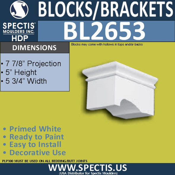 "BL2653 Eave Block or Bracket 5.75""W x 5""H x 7.9"" P"