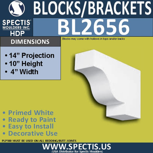"BL2656 Eave Block or Bracket 4""W x 10""H x 14"" P"