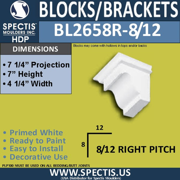 "BL2658R-8/12 Pitch Eave Bracket 4.25""W x 7""H x 7.25"" P"