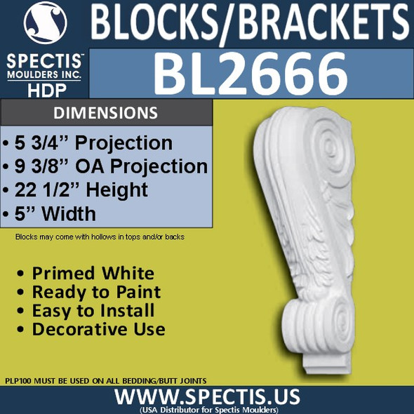 "BL2666 Eave Block or Bracket 5""W x 22.5""H x 9.75"" P"