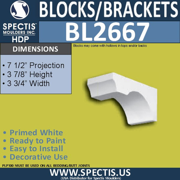 "BL2667 Eave Block or Bracket 3.75""W x 3.9""H x 7.5"" P"
