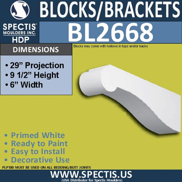 "BL2668 Eave Block or Bracket 6""W x 9.5""H x 29"" P"