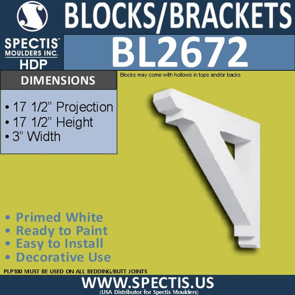 "BL2672 Eave Block or Bracket 3""W x 17.5""H x 17.5"" P"