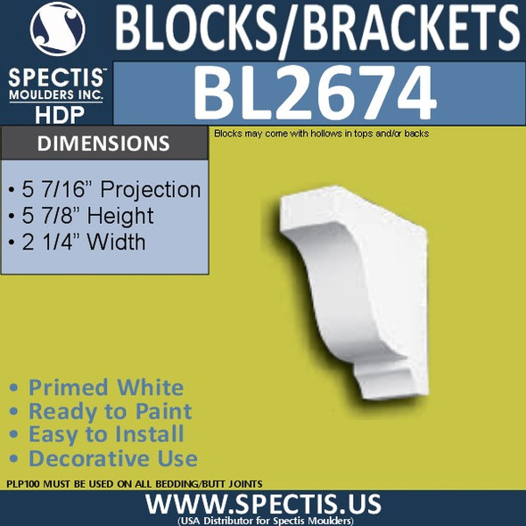 "BL2674 Eave Block or Bracket 2.5""W x 5.9""H x 5.2"" P"