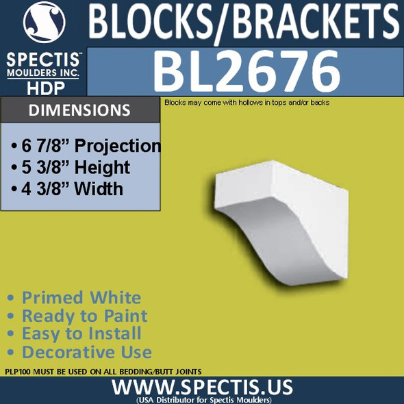 "BL2676 Eave Block or Bracket 4.4""W x 5.4""H x 6.9"" P"