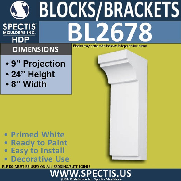 "BL2677 Eave Block or Bracket 3.5""W x 3.18""H x 5.75"" P"