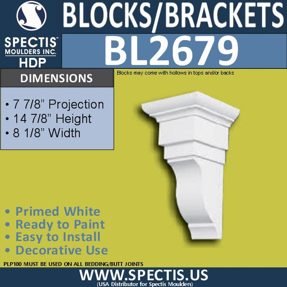 "BL2678 Eave Block or Bracket 8""W x 24""H x 9"" P"
