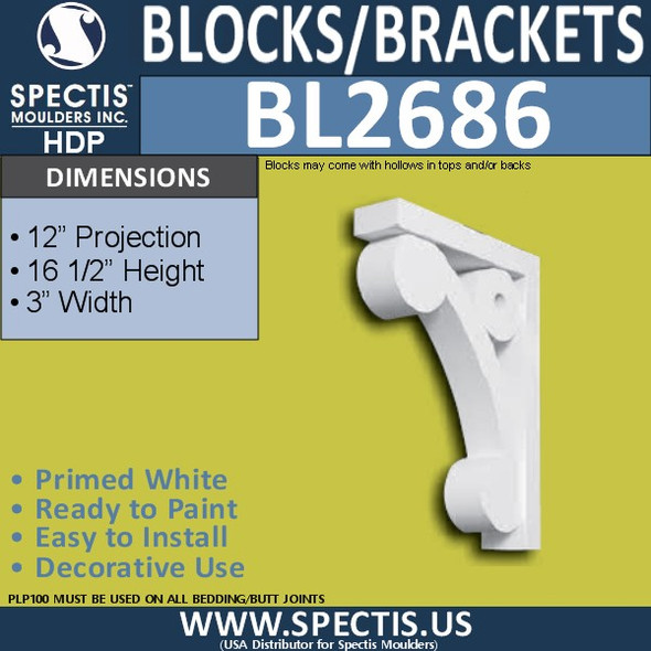 "BL2686 Eave Block or Bracket 3""W x 16.5""H x 12"" P"