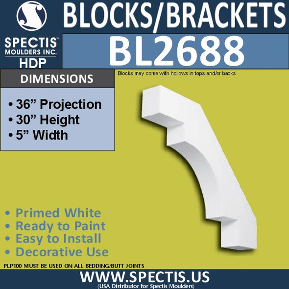 "BL2688 Eave Block or Bracket 5""W x 30""H x 36"" P"
