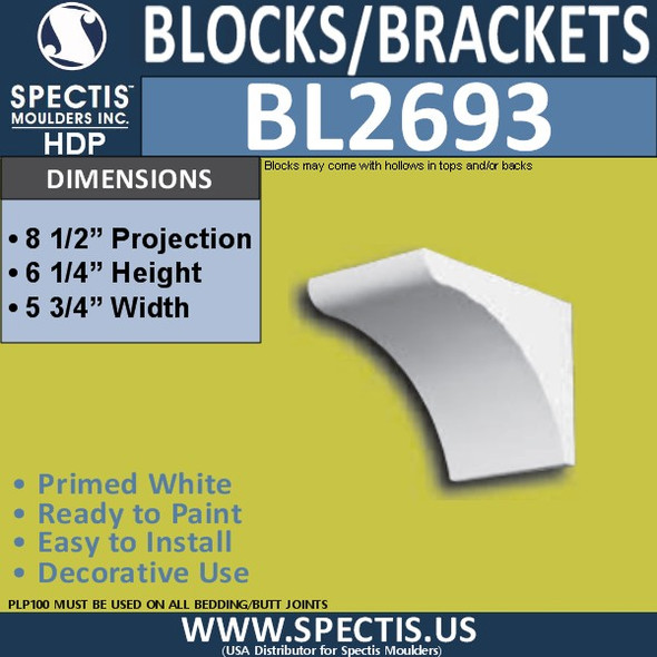 "BL2693 Eave Block or Bracket 5.75""W x 6.25""H x 8.5"" P"