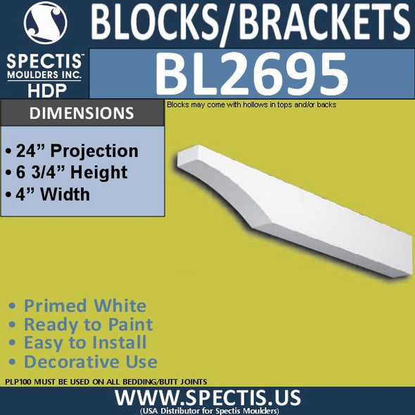 "BL2695 Eave Block or Bracket 4""W x 6.75""H x 24"" P"