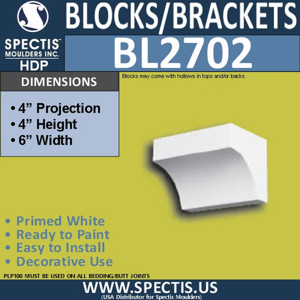 "BL2702 Eave Block or Bracket 6""W x 4""H x 4"" P"