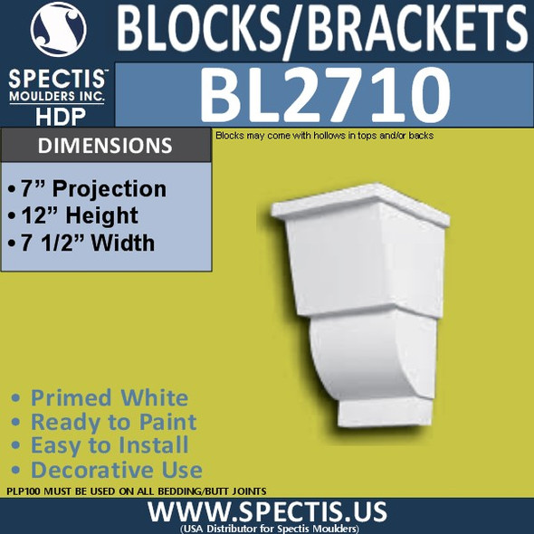 "BL2710 Eave Block or Bracket 7.5""W x 12""H x 7"" P"