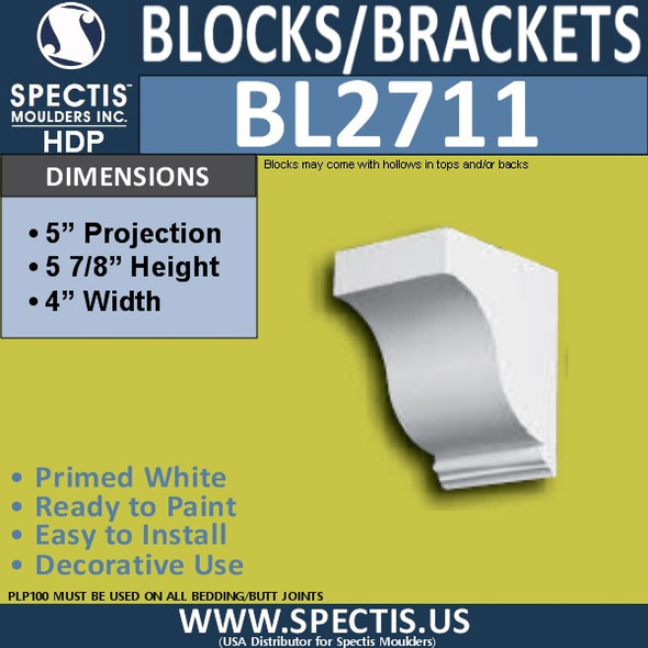 "BL2711 Eave Block or Bracket 4""W x 5.75""H x 5"" P"
