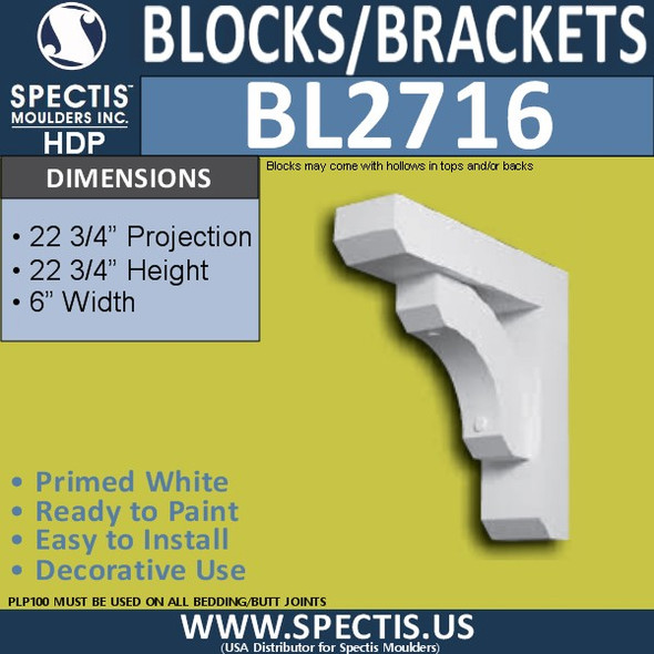 "BL2716 Eave Block or Bracket 6""W x 22.75""H x 22.75"" P"