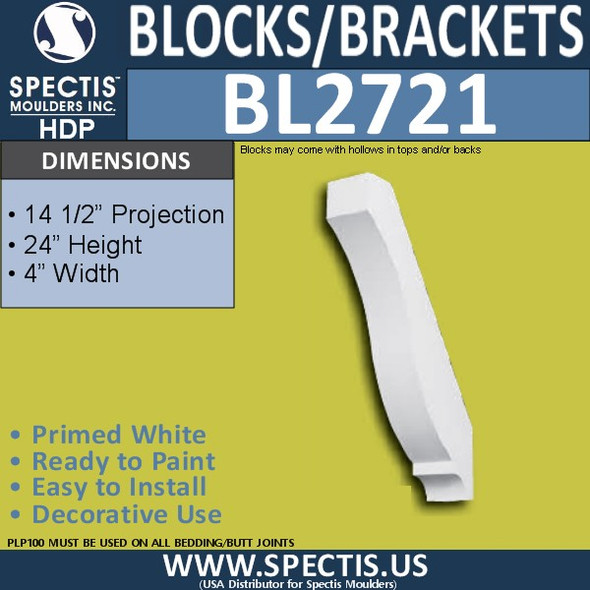 "BL2721 Eave Block or Bracket 4""W x 24""H x 14.5"" P"