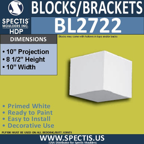 "BL2722 Eave Block or Bracket 10""W x 8.5""H x 10"" P"