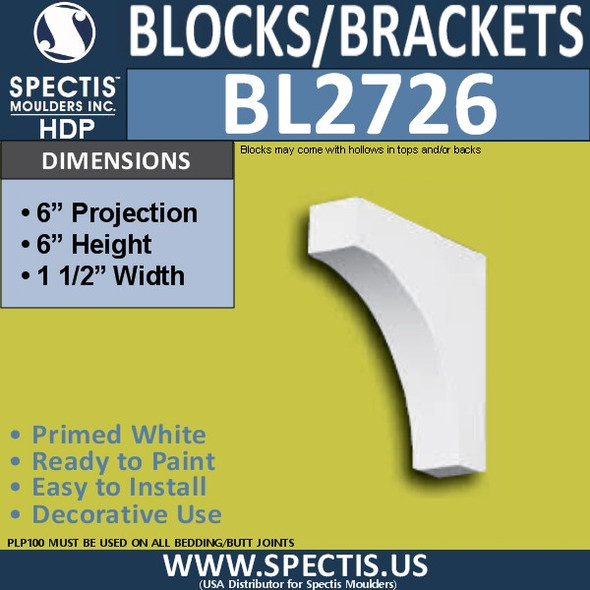 "BL2726 Eave Block or Bracket 1.5""W x 6""H x 6"" P"