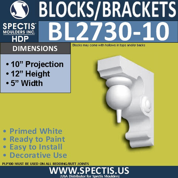"BL2730-10 Eave Block or Bracket 5""W x 12""H x 10"" P"