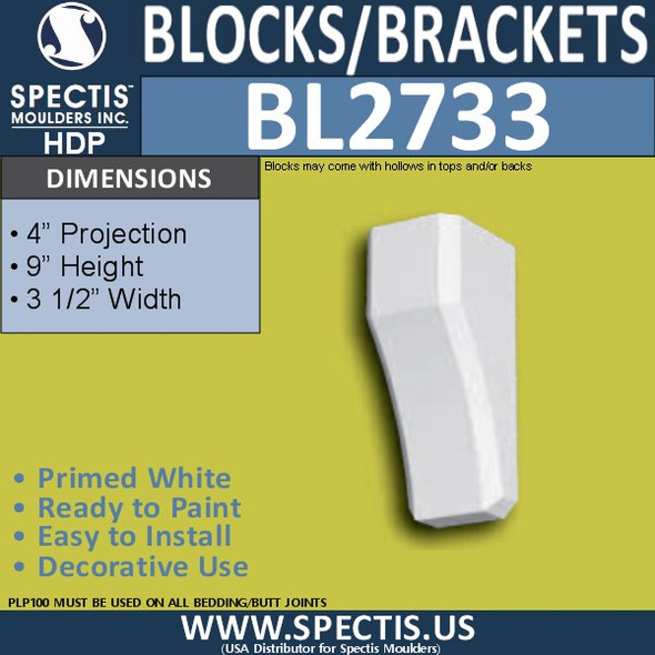 "BL2733 Eave Block or Bracket 3.5""W x 9""H x 4"" P"