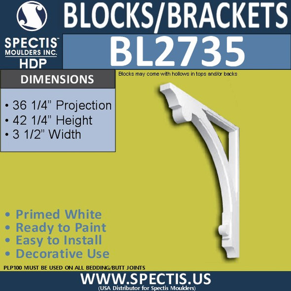 "BL2735 Eave Block or Bracket 3.5""W x 42.25""H x 36.25"" P"
