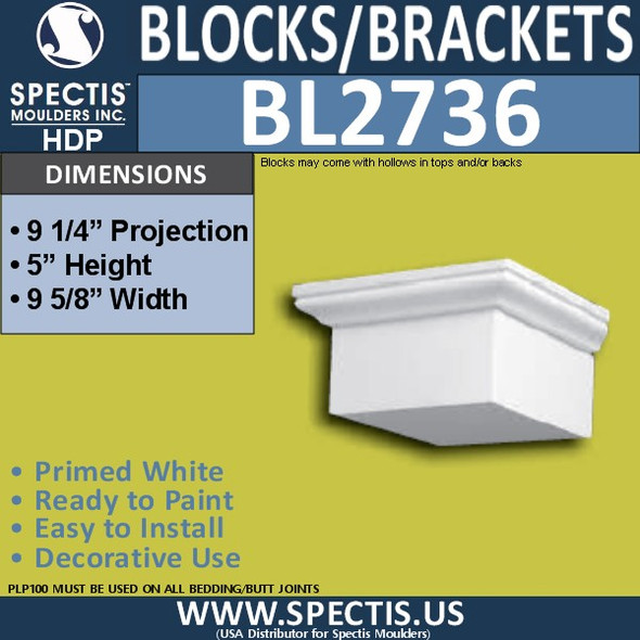 "BL2736 Eave Block or Bracket 9.5""W x 5""H x 9.5"" P"