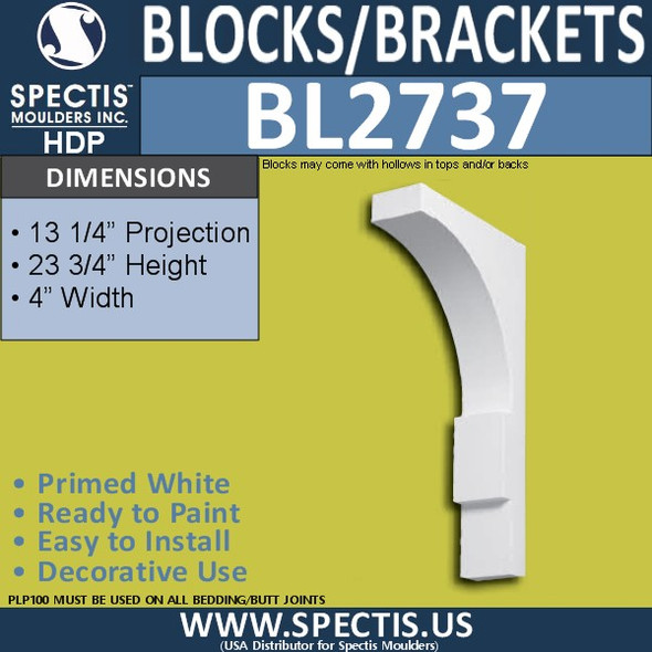 "BL2737 Eave Block or Bracket 4""W x 12.25""H x 23.75"" P"