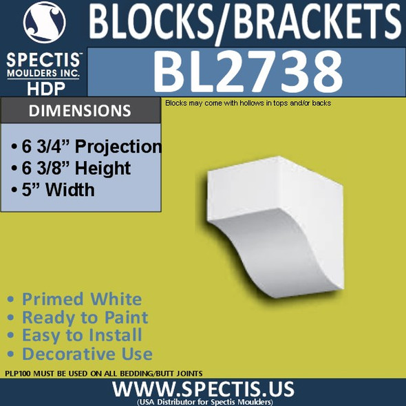 "BL2738 Eave Block or Bracket 5""W x 6.5""H x 6.75"" P"