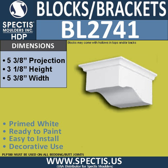 "BL2741 Eave Block or Bracket 5.5""W x 3""H x 5.25"" P"