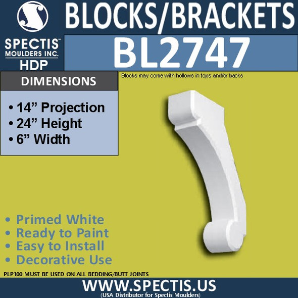 "BL2747 Eave Block or Bracket 6""W x 24""H x 14"" P"