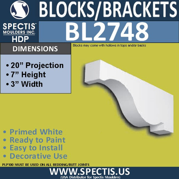 "BL2748 Eave Block or Bracket 3""W x 7""H x 20"" P"