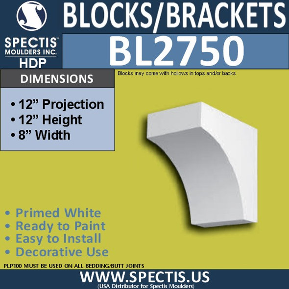 "BL2750 Eave Block or Bracket 8""W x 12""H x 12"" P"
