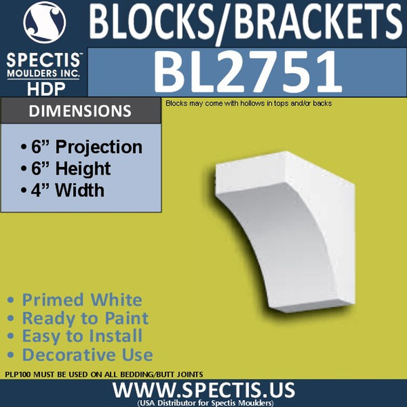 "BL2751 Eave Block or Bracket 4""W x 6""H x 6"" P"