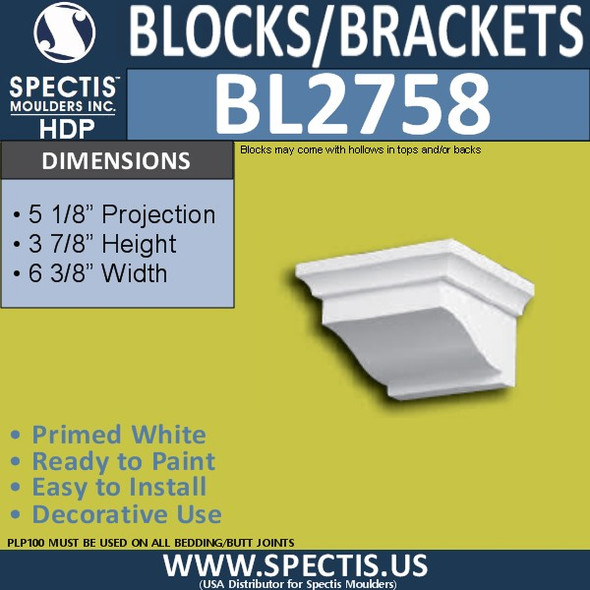 "BL2758 Eave Block or Bracket 5.25""W x 3.9""H x 5.2"" P"